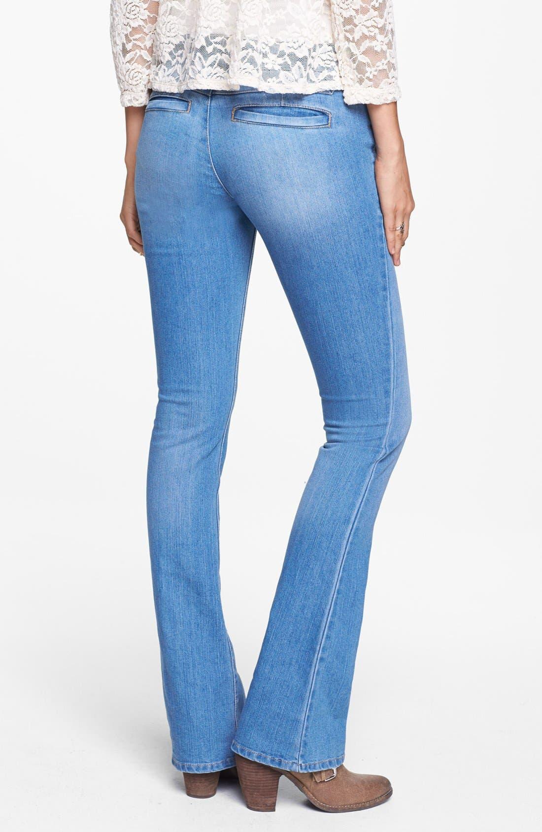 Alternate Image 2  - Jolt Welt Pocket Bootcut Jeans (Light) (Juniors) (Online Only)