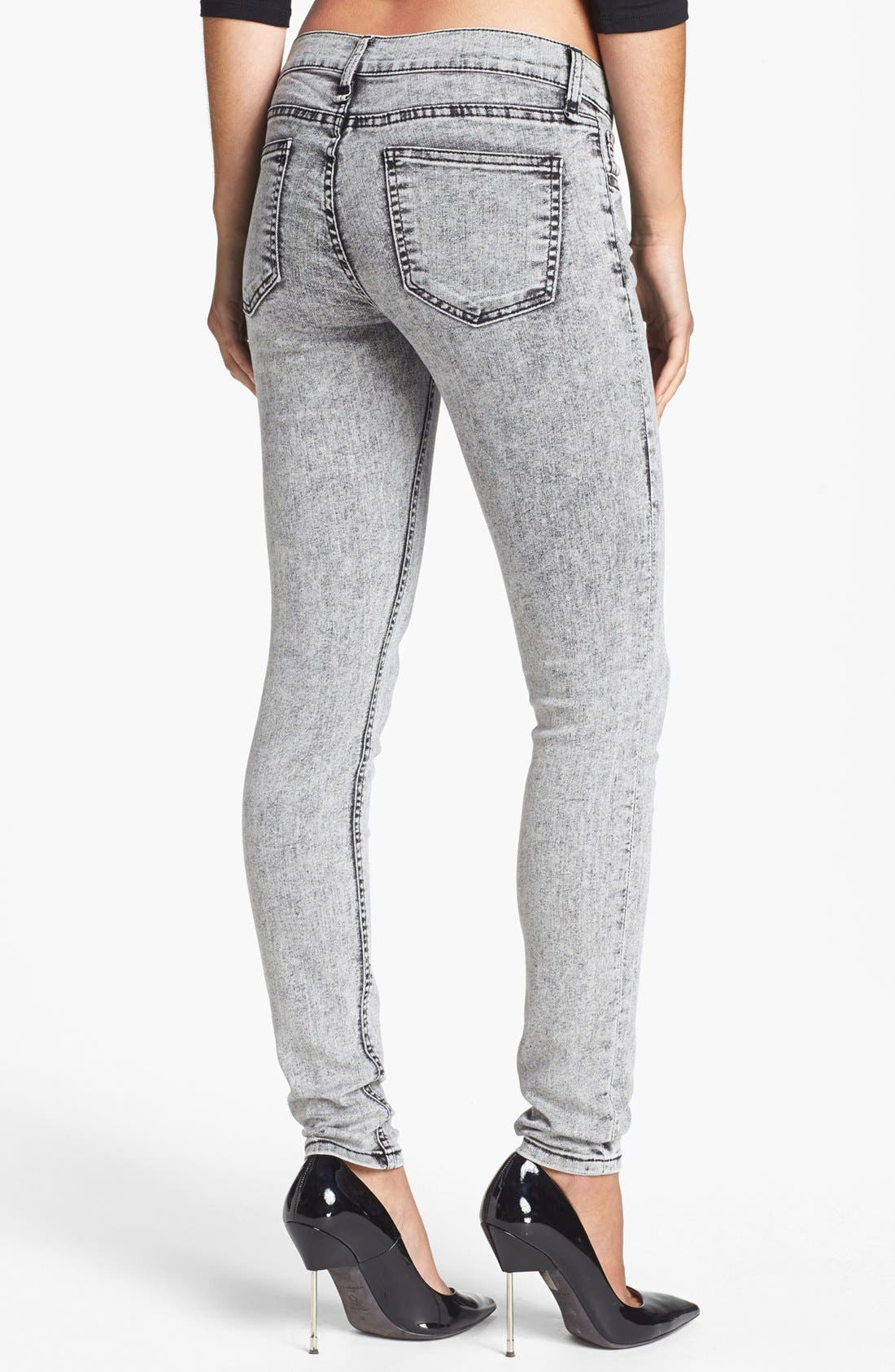 Alternate Image 2  - edyson 'Sloan' Acid Wash Skinny Jeans (Grey Maven)
