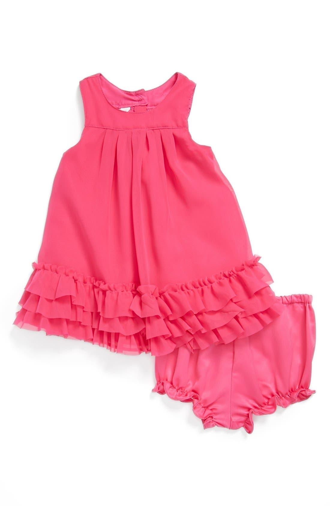 Alternate Image 1 Selected - Pippa & Julie Chiffon Dress & Bloomers (Baby Girls)