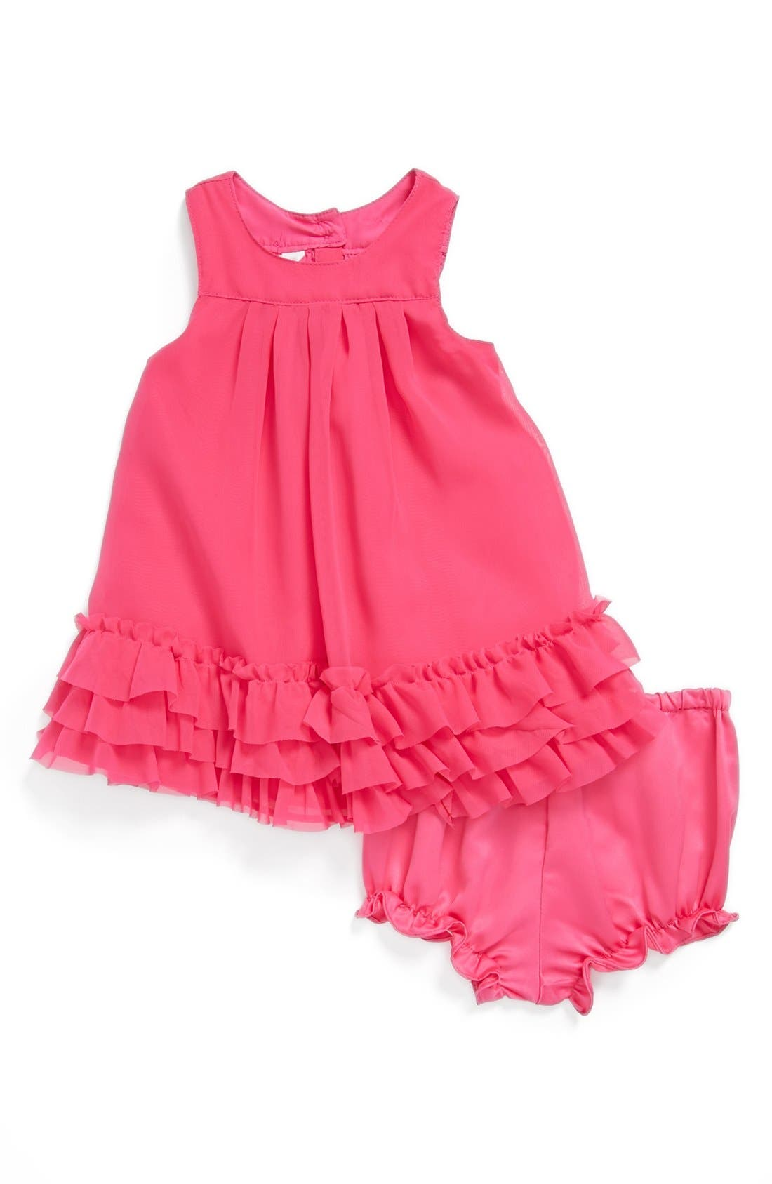 Main Image - Pippa & Julie Chiffon Dress & Bloomers (Baby Girls)
