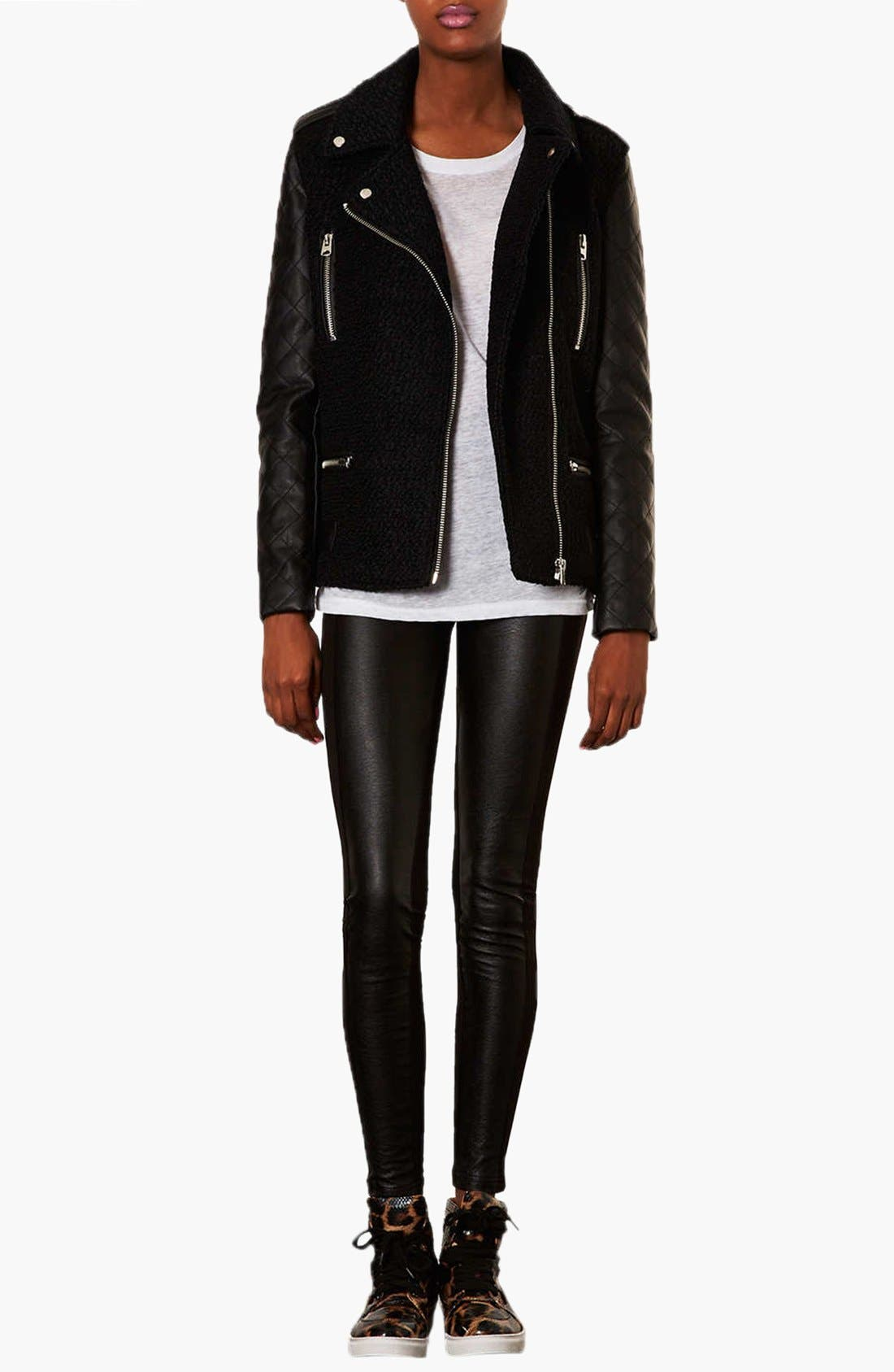 Alternate Image 3  - Topshop Faux Leather Front Leggings