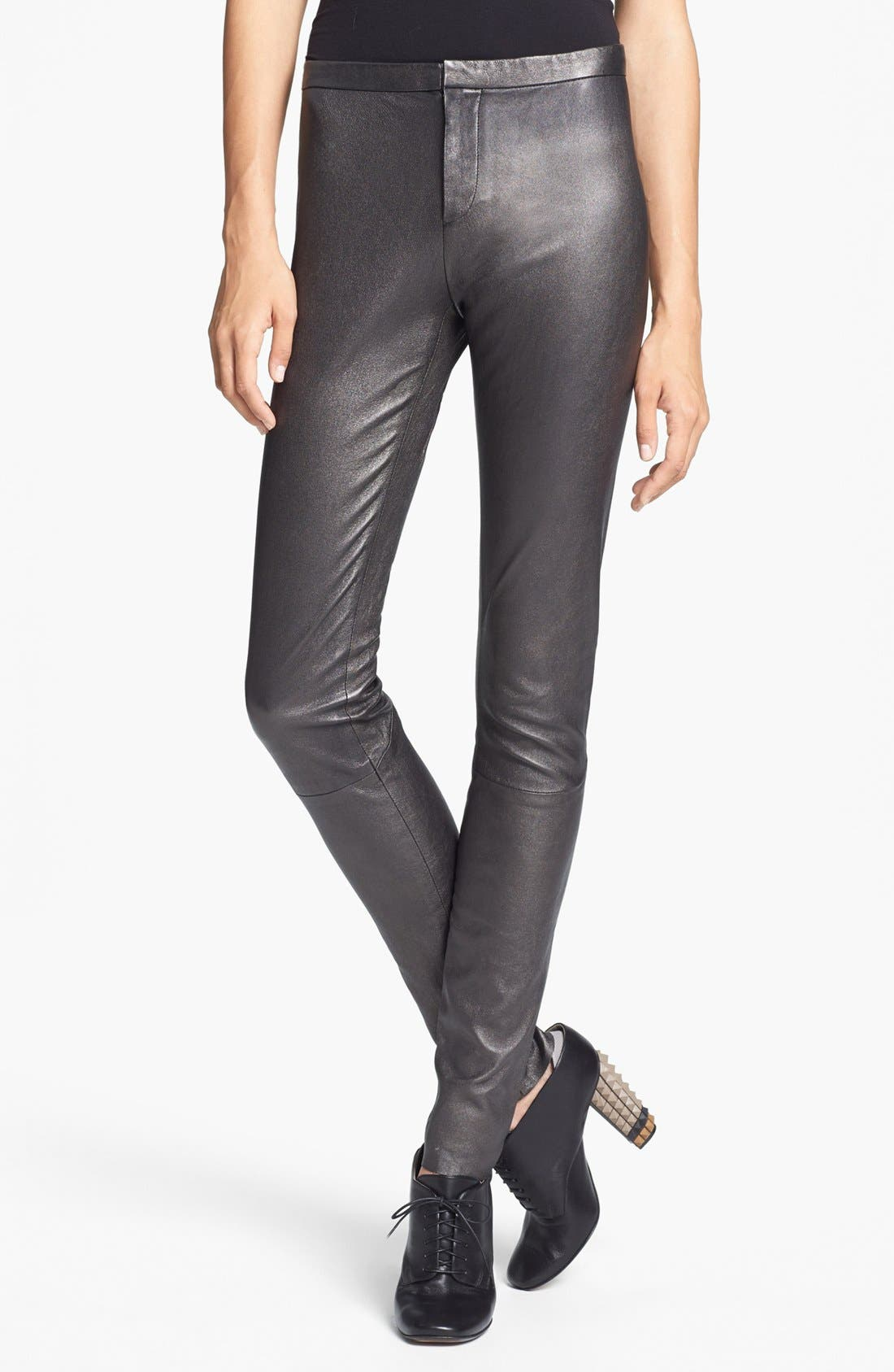 Main Image - Theyskens' Theory 'Pohn Netch' Leather Leggings