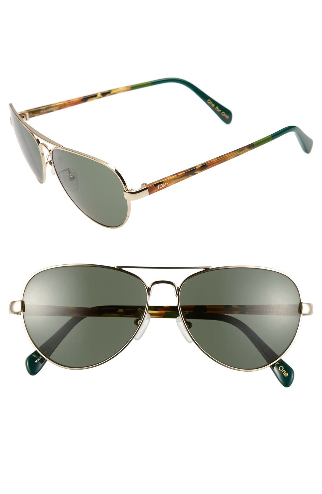 Main Image - TOMS 'Maverick' 59mm Aviator Sunglasses
