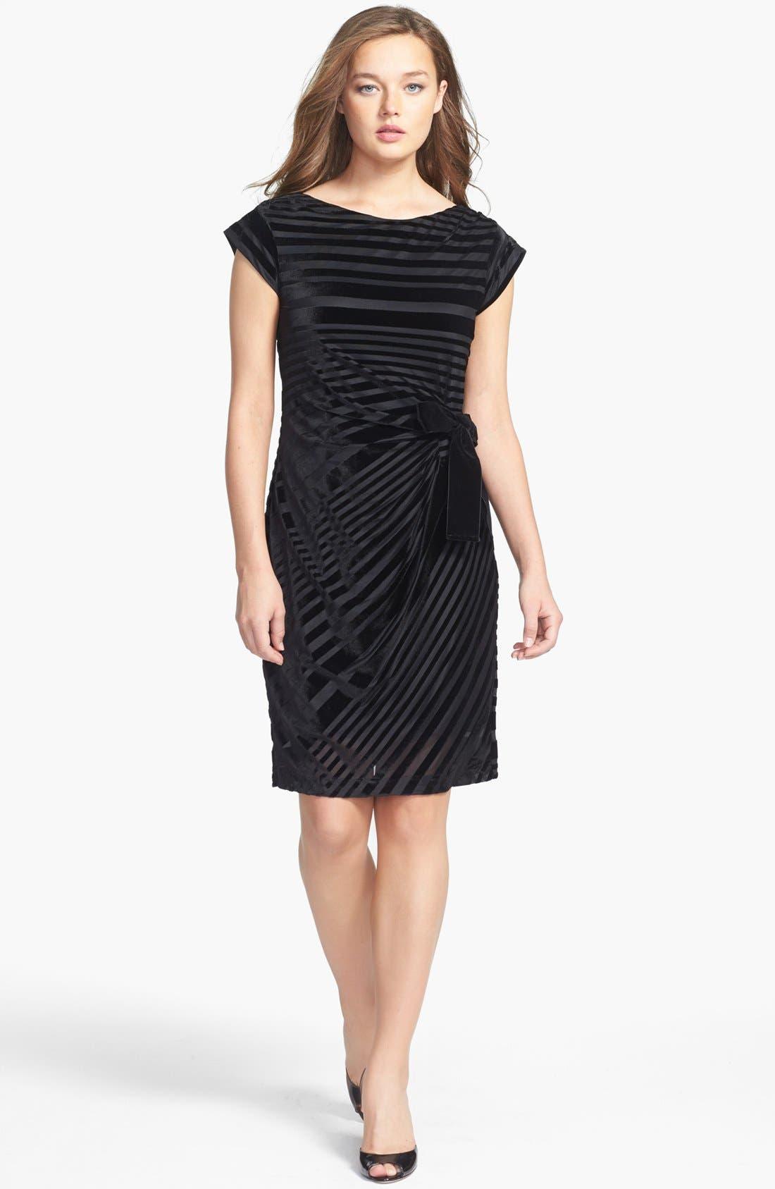 Alternate Image 1 Selected - Taylor Dresses Stripe Velvet Dress