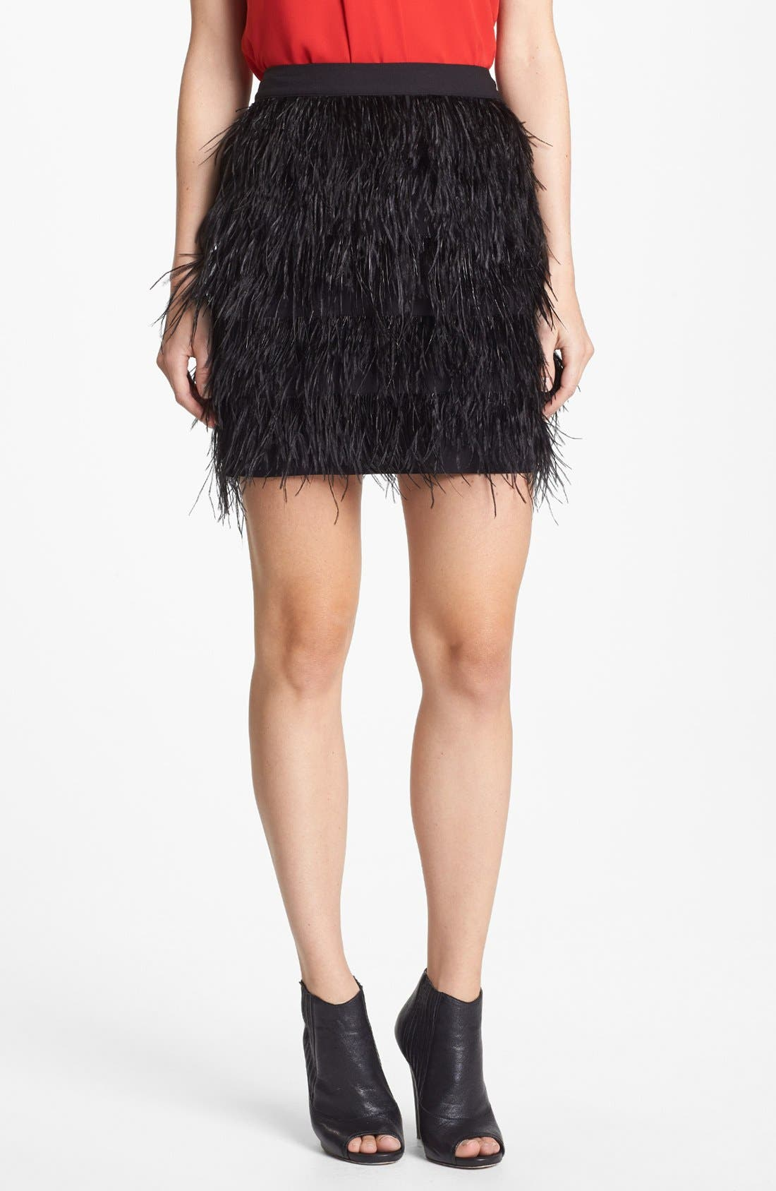 Alternate Image 1 Selected - Vince Camuto Feather Tiered Miniskirt