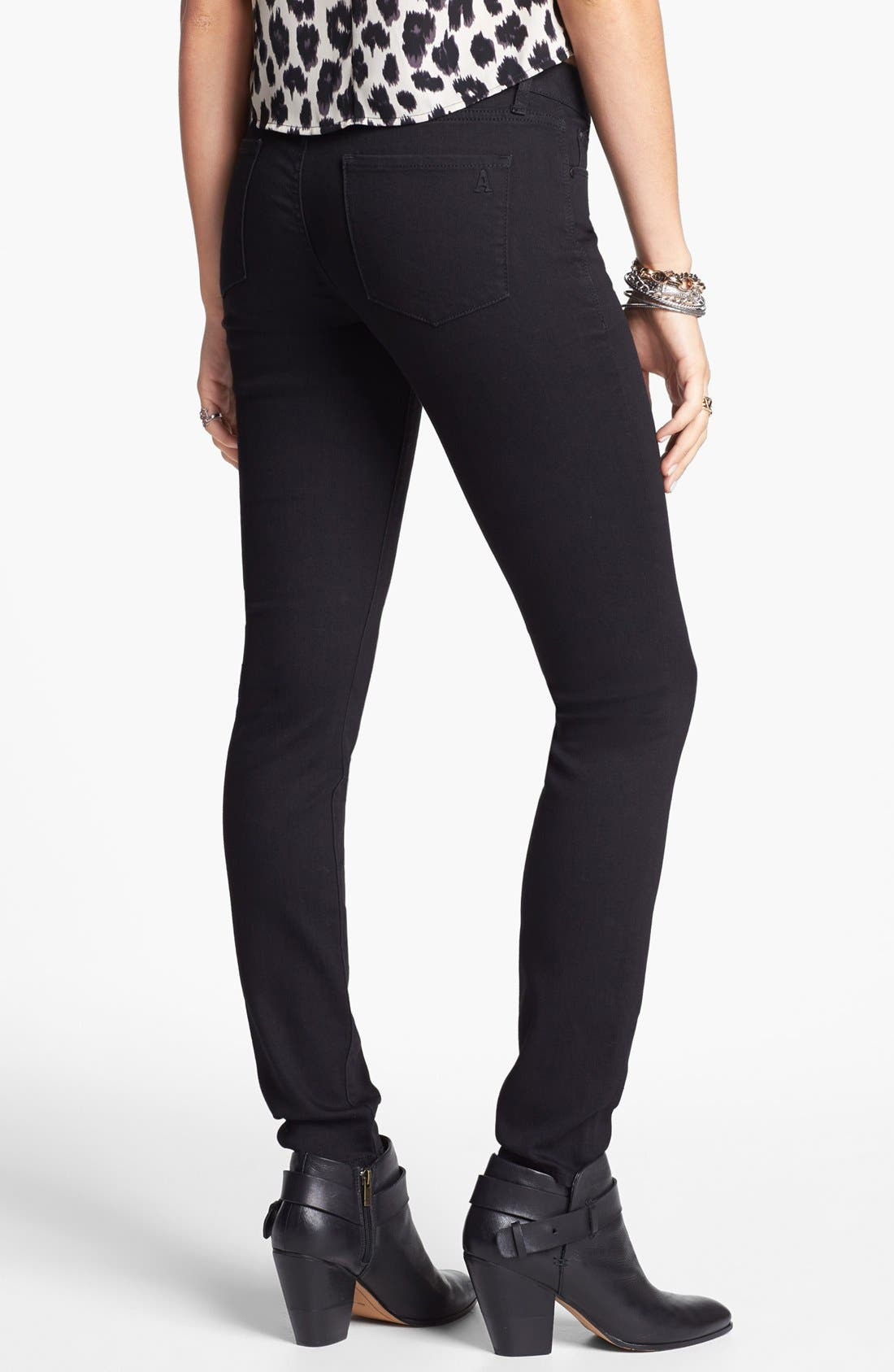 Alternate Image 2  - Articles of Society 'Mya' Skinny Jeans (Blackout) (Juniors)