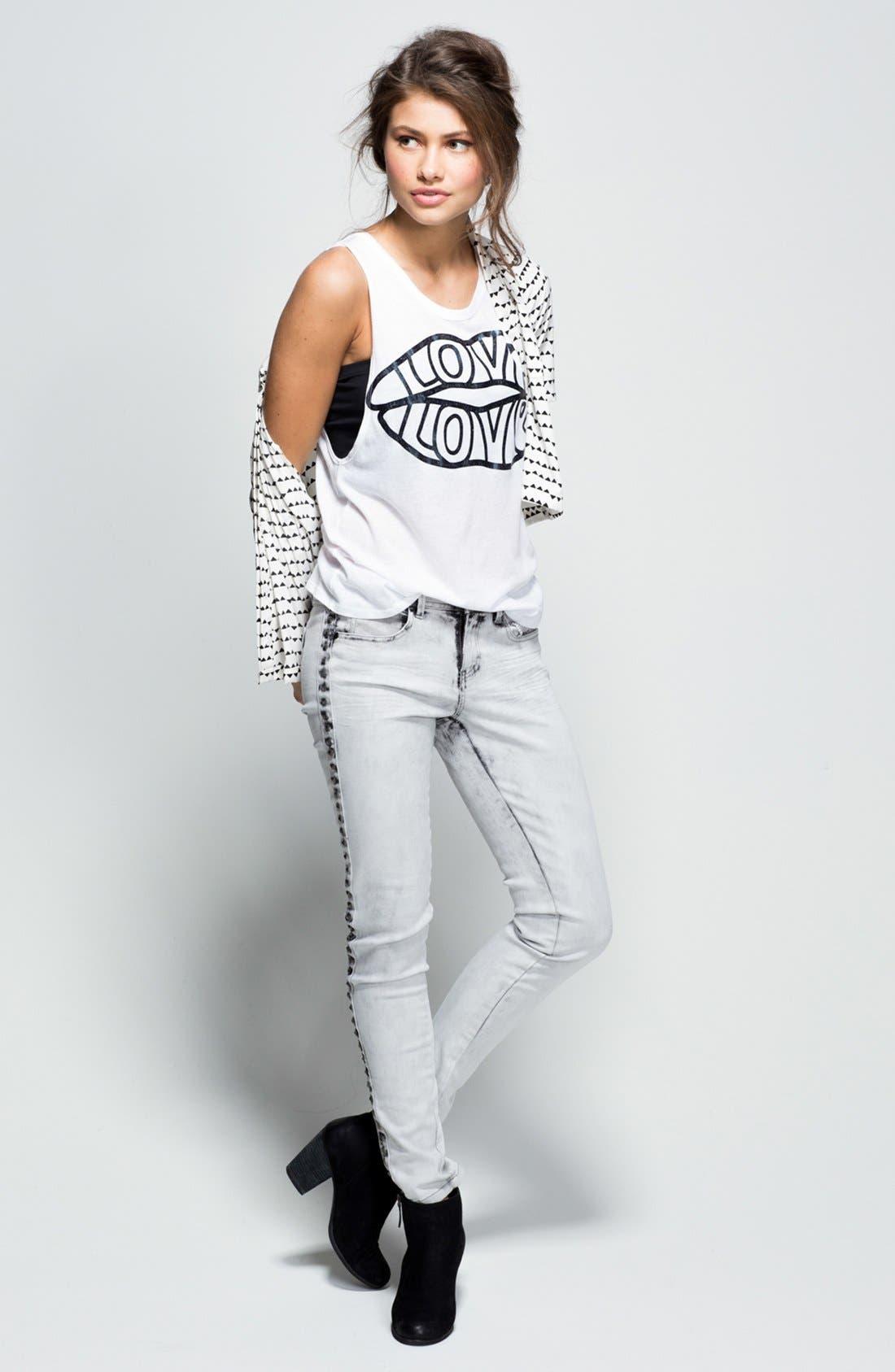 Alternate Image 5  - Fire Studded Acid Wash Skinny Jeans (Grey) (Juniors)