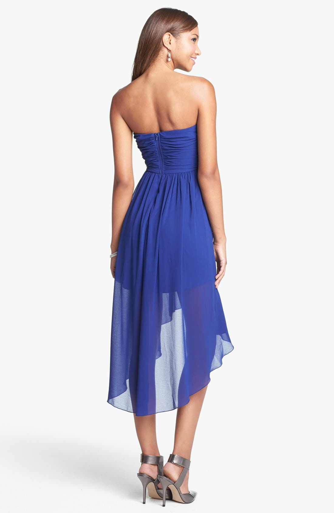 Alternate Image 2  - Way-In Strapless Twist Front High/Low Dress (Juniors)