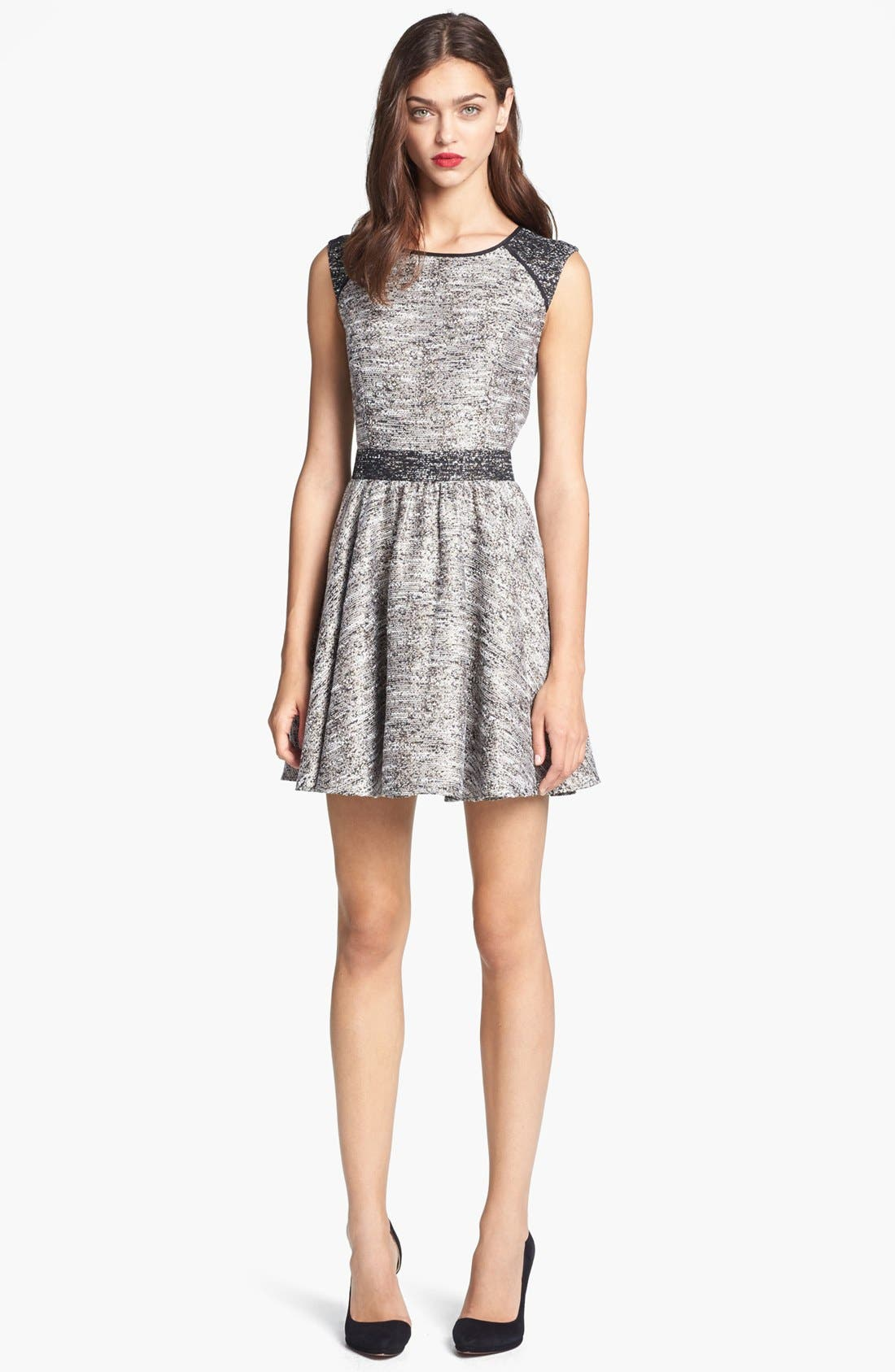 Main Image - Rachel Zoe 'Marley' Flared Metallic Tweed Dress