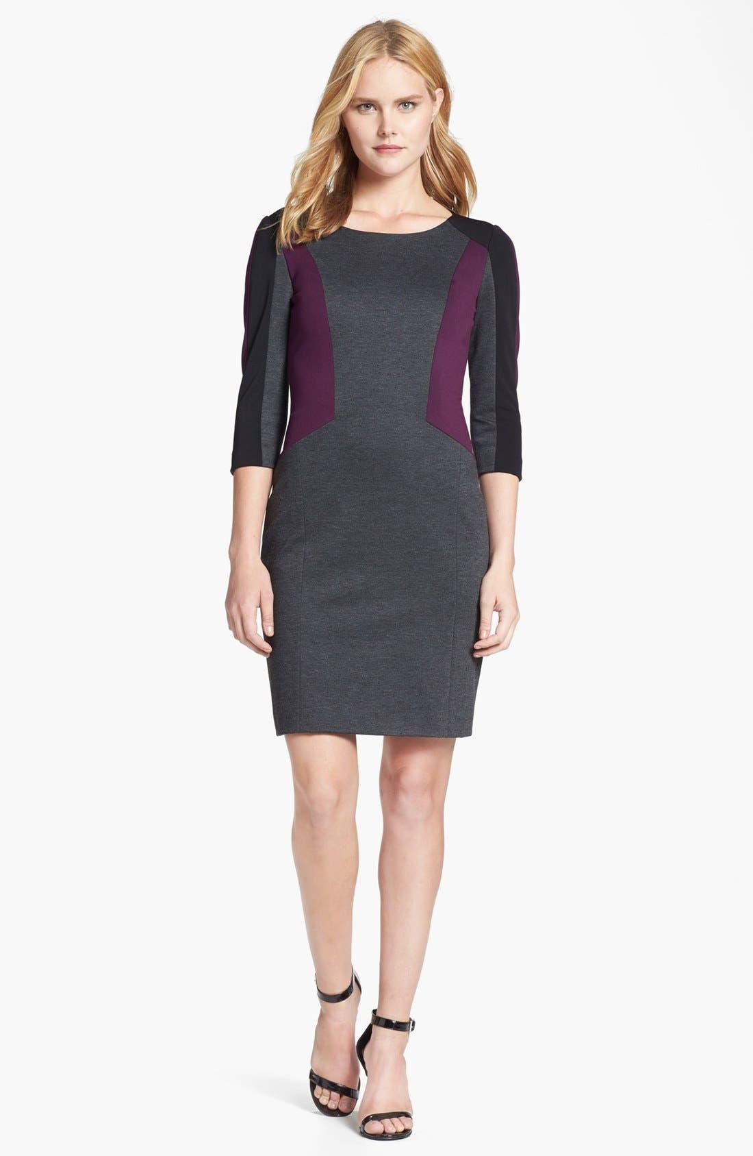 Main Image - Tahari Colorblock Sheath Dress (Petite)