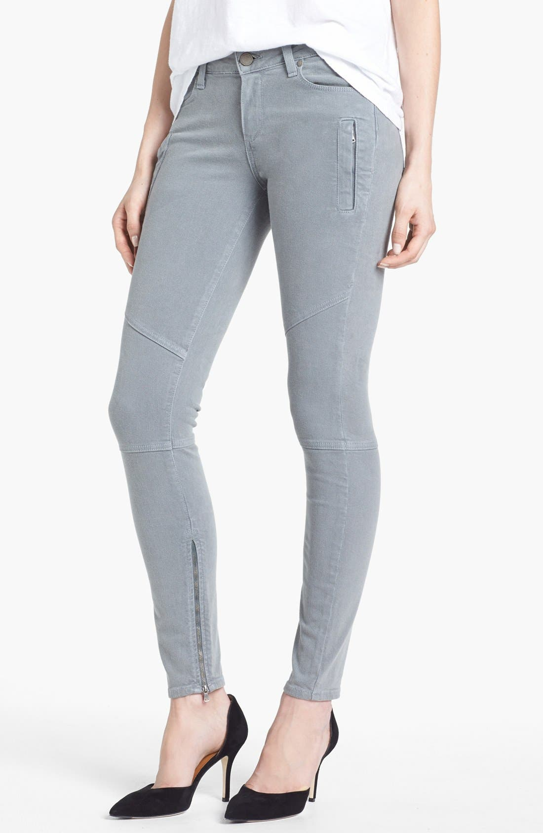 Main Image - Paige Denim 'Marley' Zip Detail Skinny Jeans (Cloud Cover)
