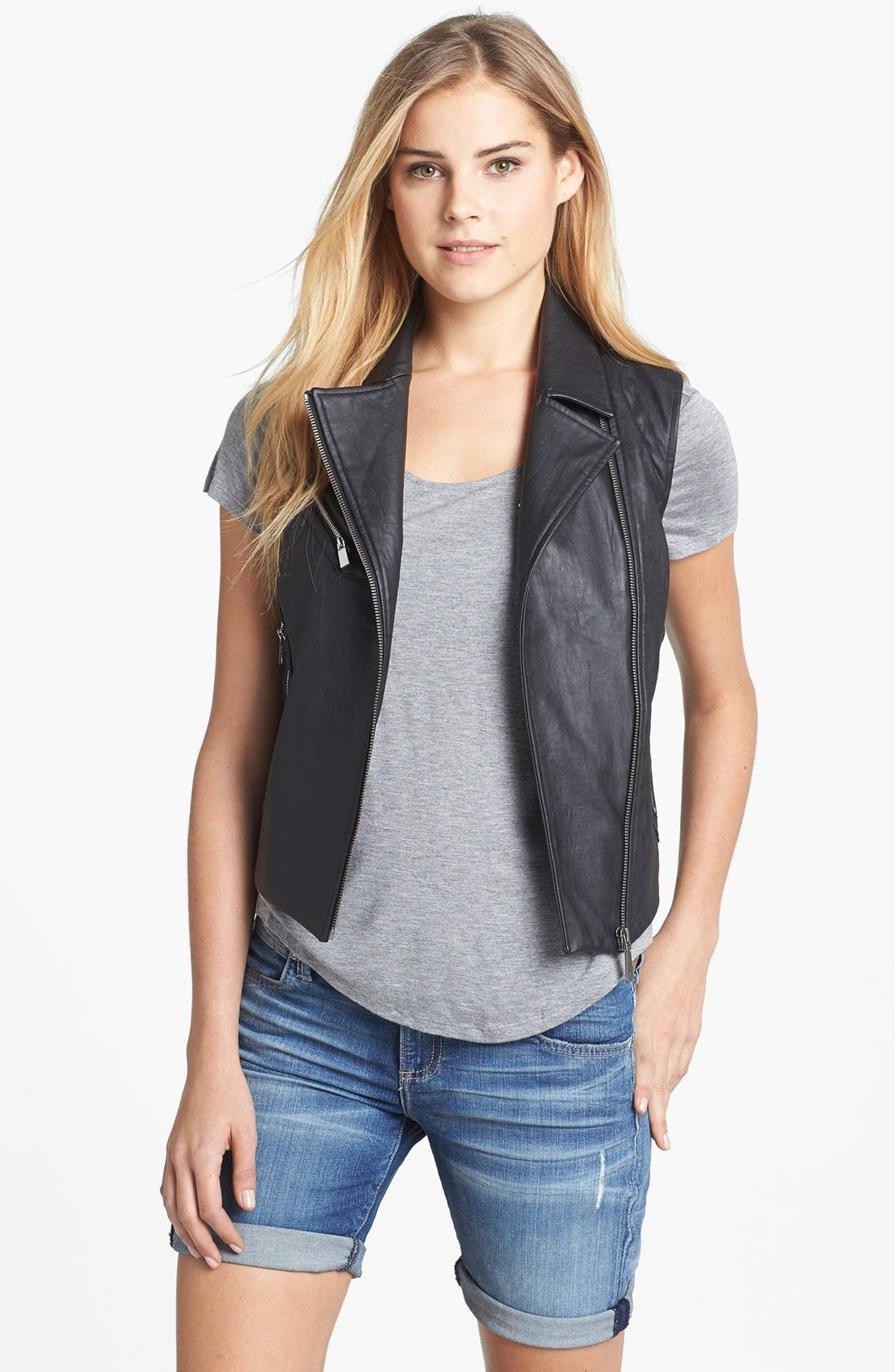 Alternate Image 1 Selected - Two by Vince Camuto Faux Leather Moto Vest