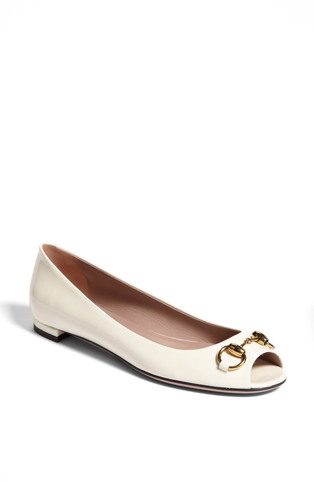 Alternate Image 1 Selected - Gucci 'Jolene' Horse Bit Peep Toe Ballet Flat