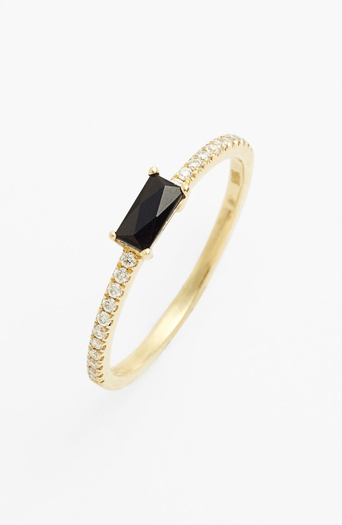Main Image - Bony Levy Stackable Black Onyx Baguette & Diamond Ring (Nordstrom Exclusive)