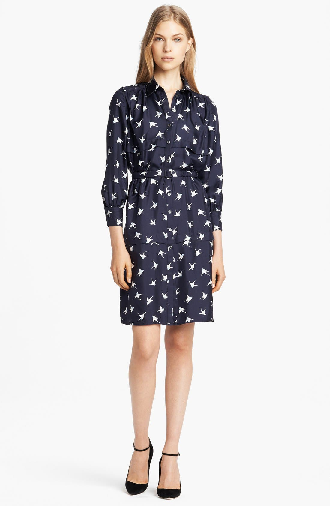 Main Image - Nina Ricci Bird Print Silk Shirtdress