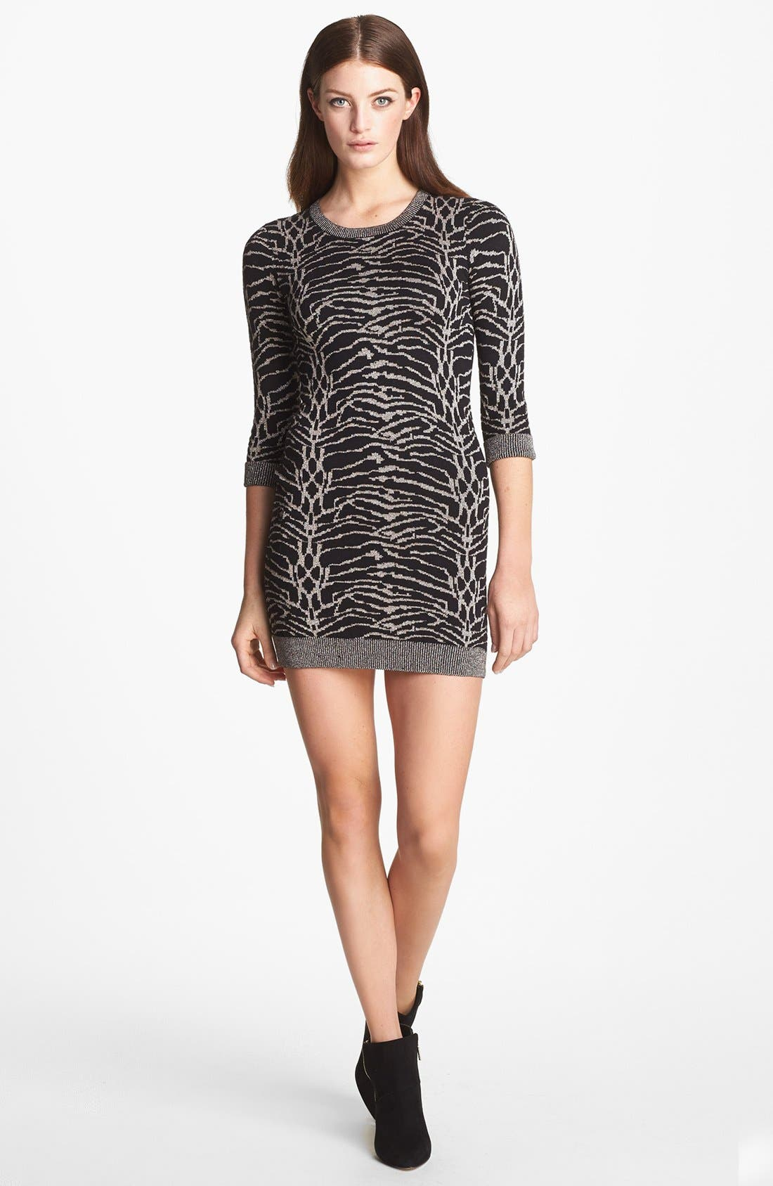 Main Image - French Connection 'Snow Tiger' Metallic Sweater Dress
