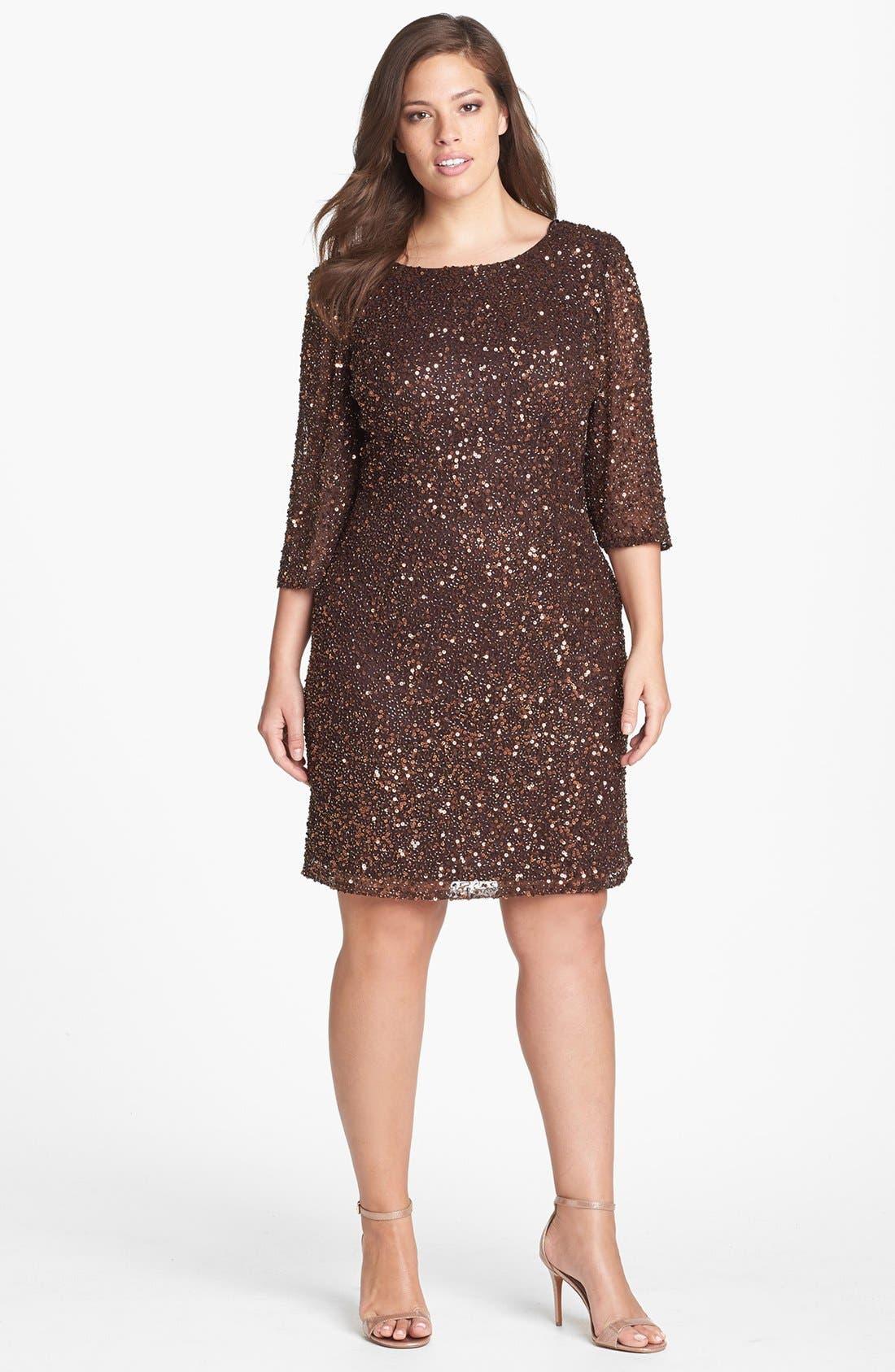 Main Image - Pisarro Nights Draped Back Beaded Dress (Plus Size)