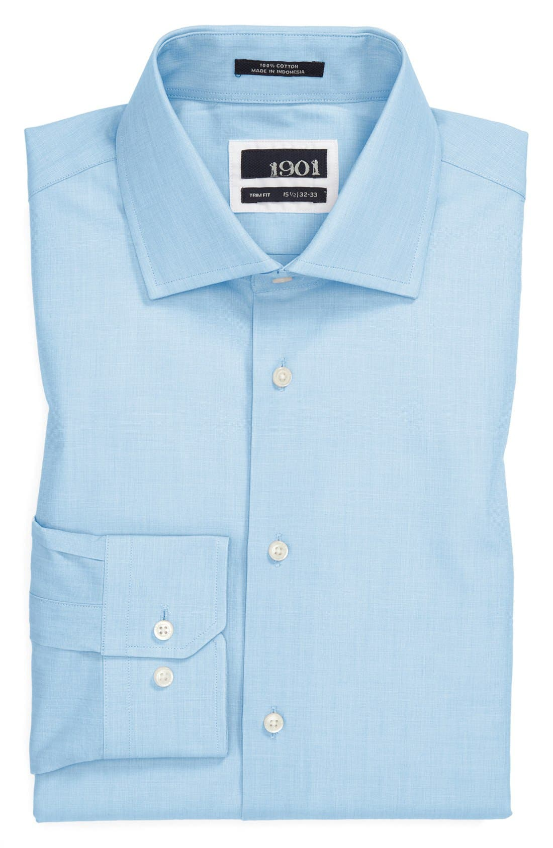 Main Image - 1901 Solid End-on-End Cotton Trim Fit Dress Shirt