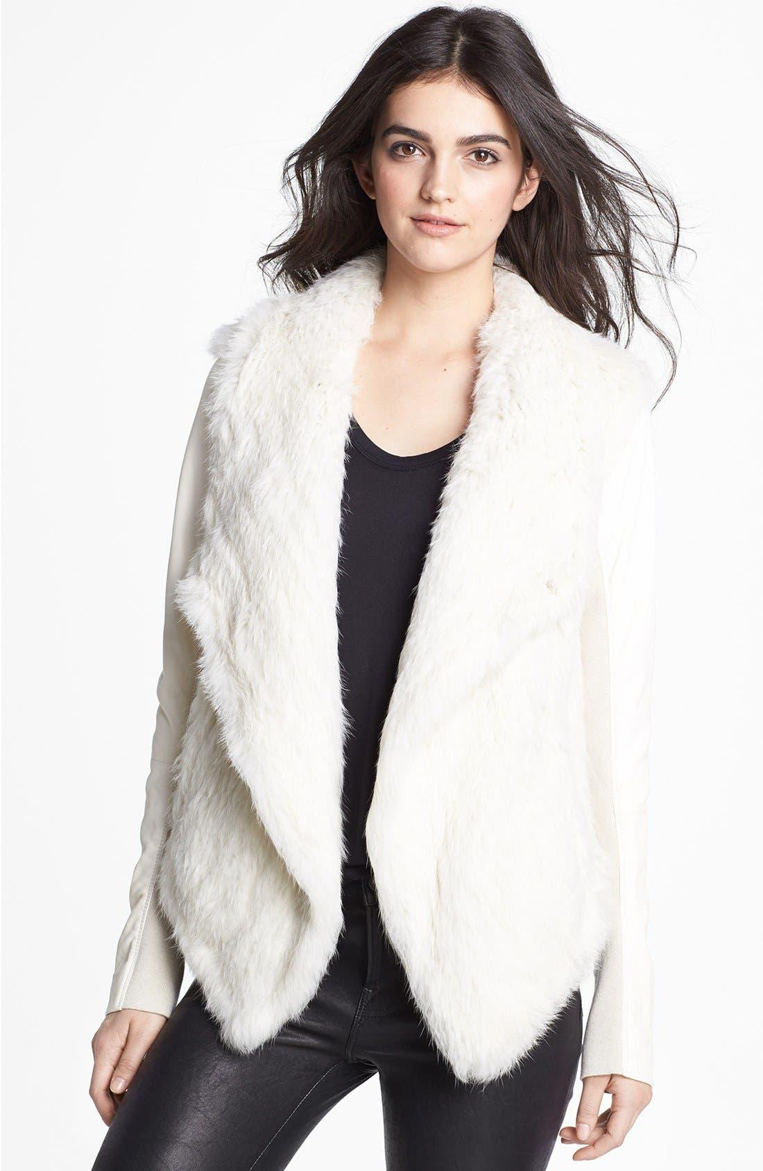 Main Image - June Genuine Rabbit Fur & Leather Coat