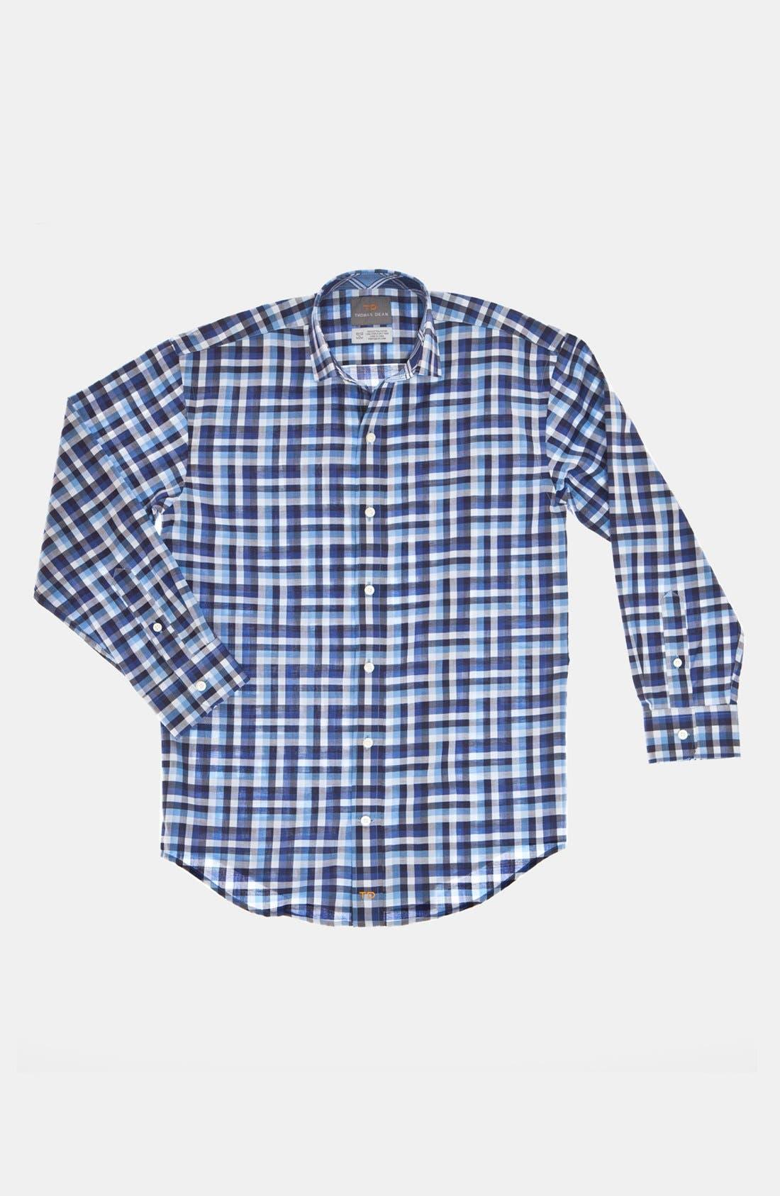 Main Image - Thomas Dean Check Dress Shirt (Big Boys)