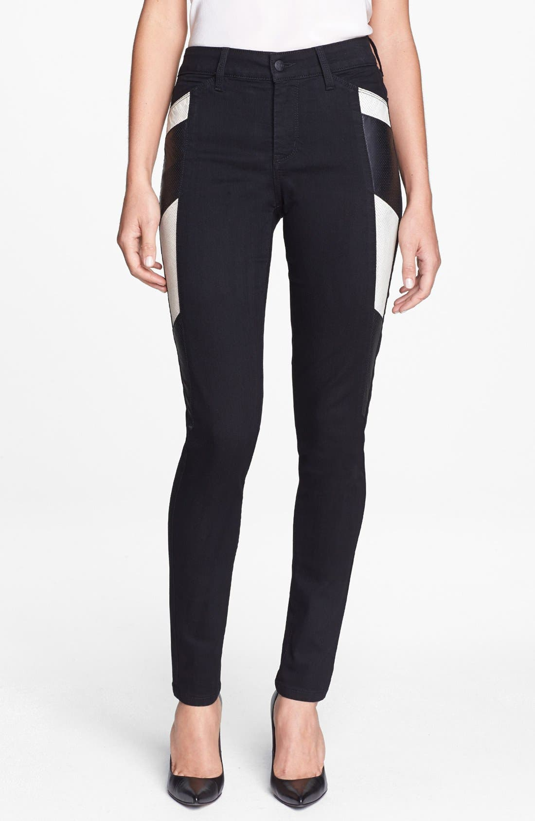 Alternate Image 1 Selected - NYDJ 'Aiden' Perforated Side Panel Stretch Skinny Jeans
