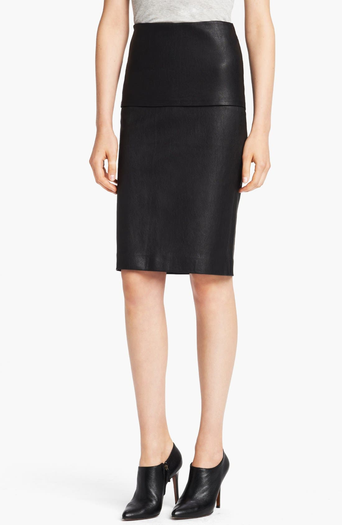 Main Image - Donna Karan Collection Stretch Leather Tube Skirt