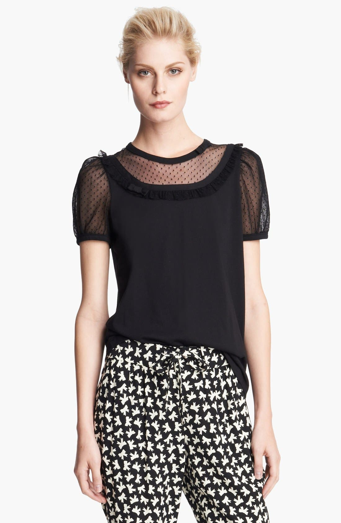 Alternate Image 1 Selected - RED Valentino Lace Inset Jersey Tee