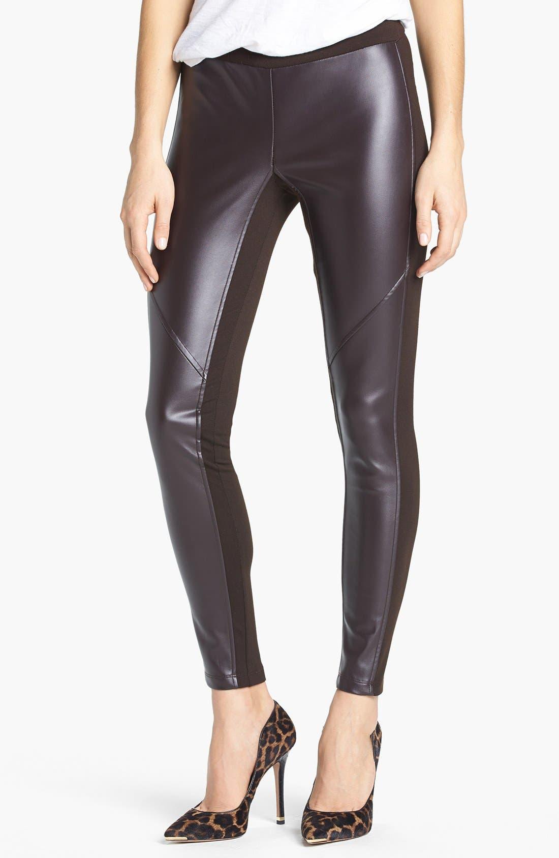 Alternate Image 1 Selected - MICHAEL Michael Kors Faux Leather Front Leggings