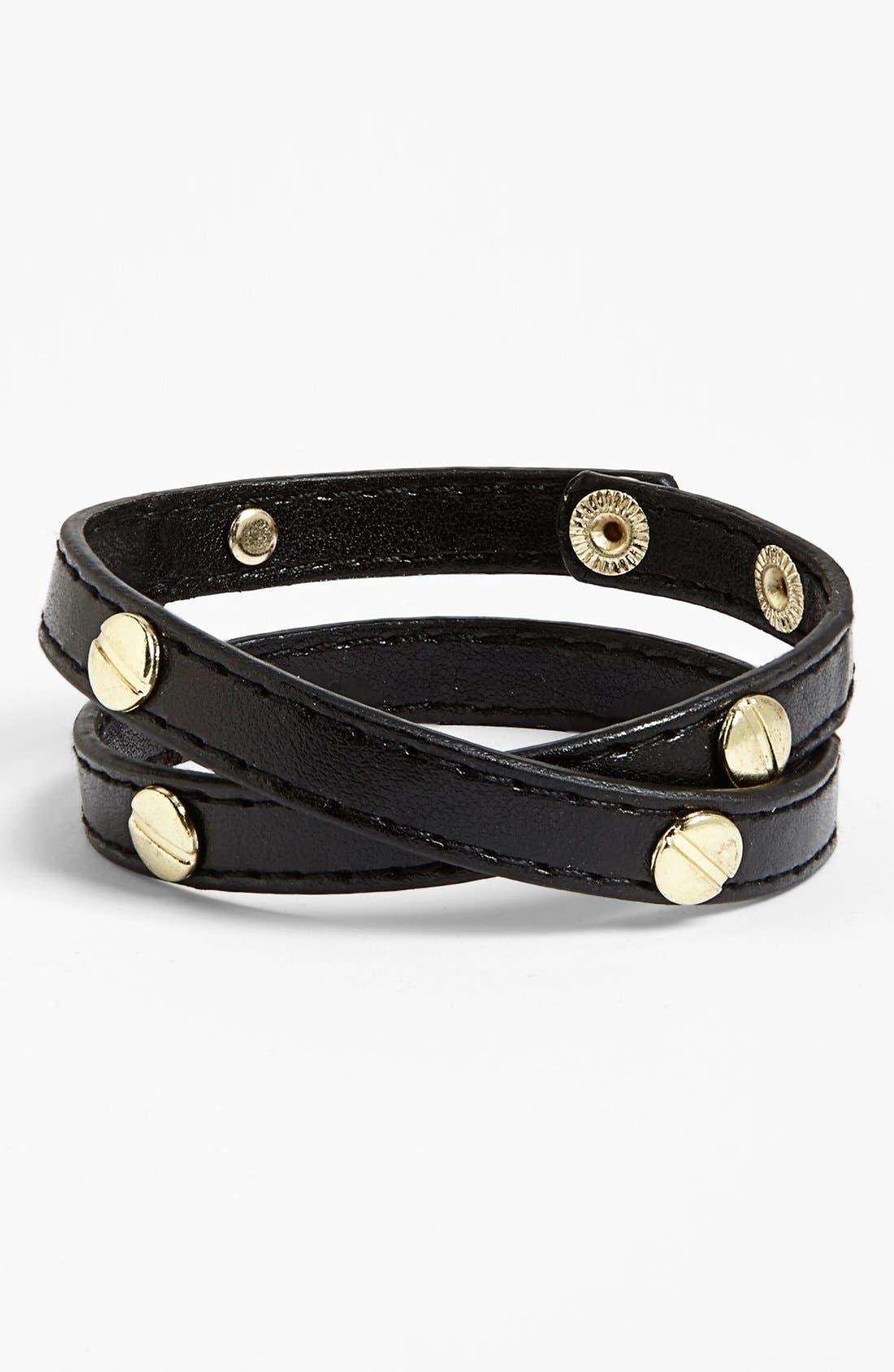 Main Image - Carole Studded Faux Leather Wrap Bracelet (Juniors)