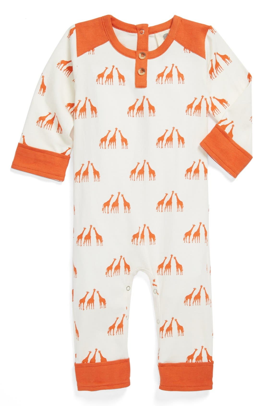 Alternate Image 1 Selected - Kate Quinn Organics Henley Romper (Baby)