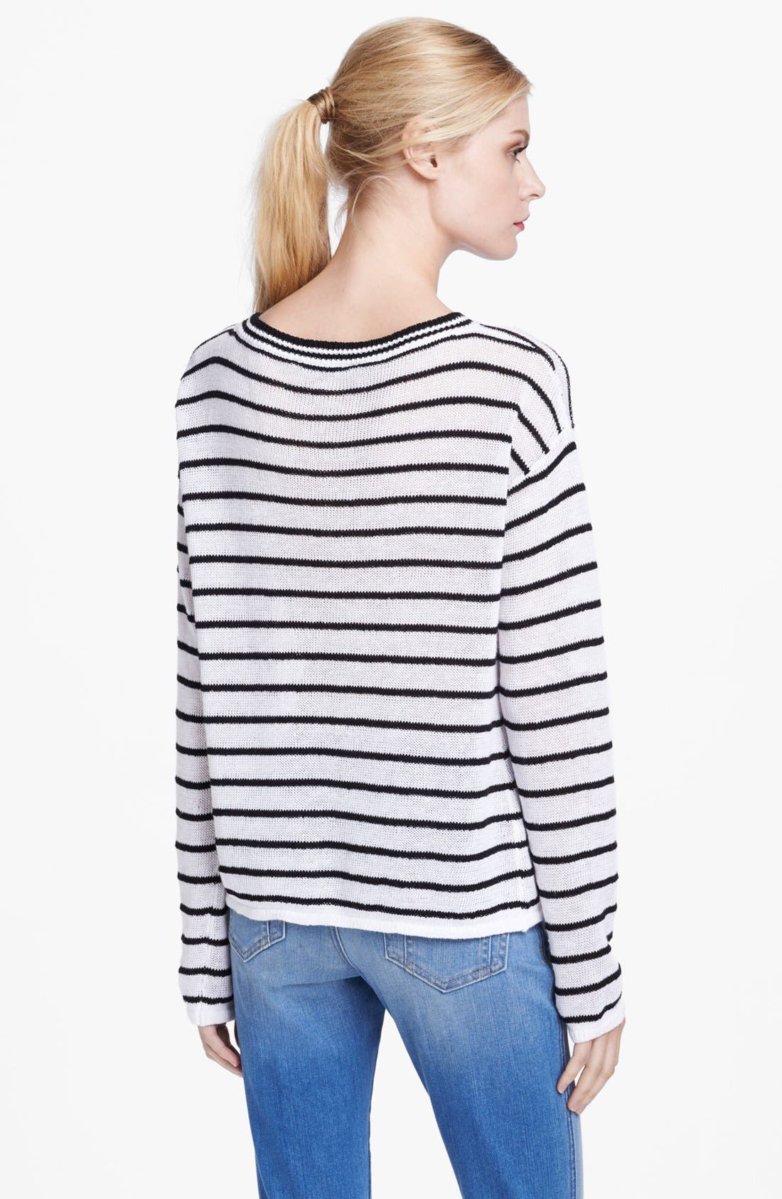 Alternate Image 2  - Alice + Olivia Boxy Pinstripe Sweater