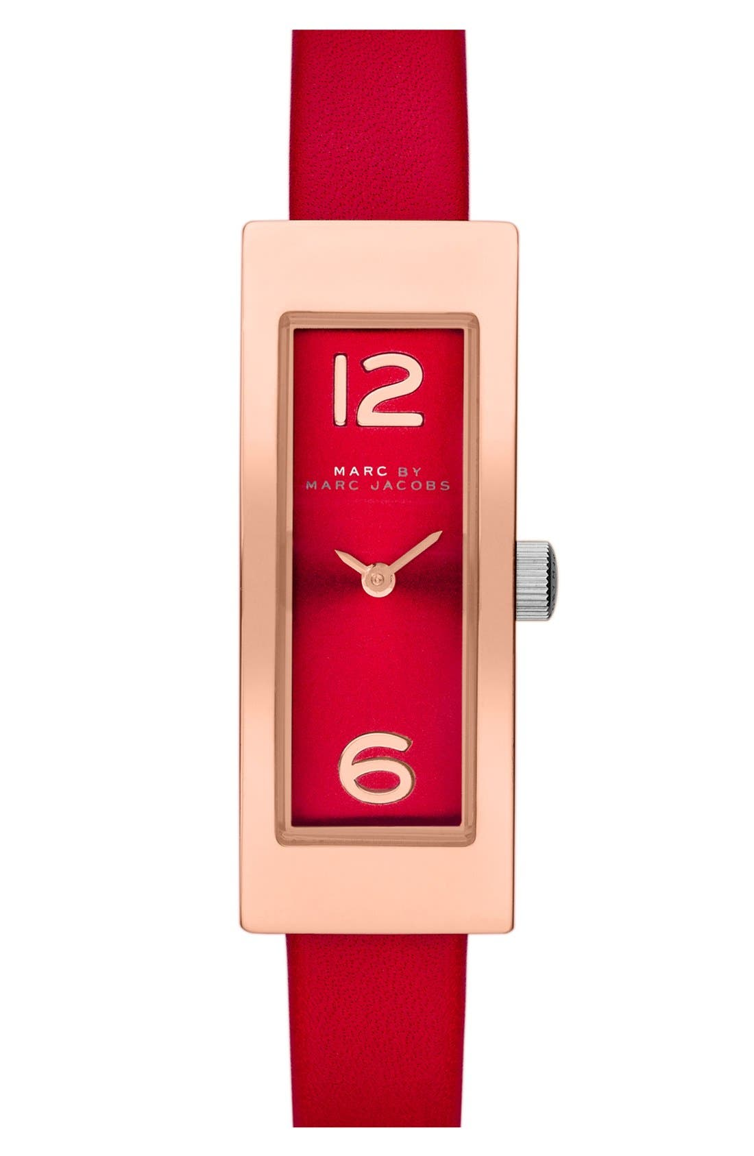Alternate Image 1 Selected - MARC JACOBS 'Logo Plaque' Leather Strap Watch, 16mm x 42mm
