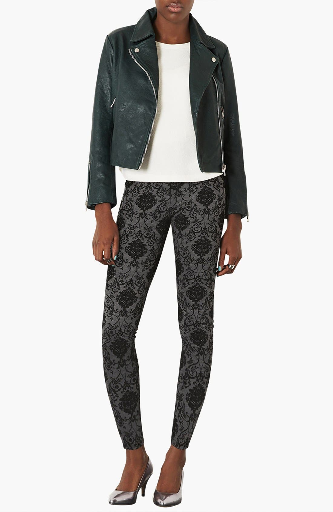 Alternate Image 4  - Topshop High Waist Damask Flocked Leggings