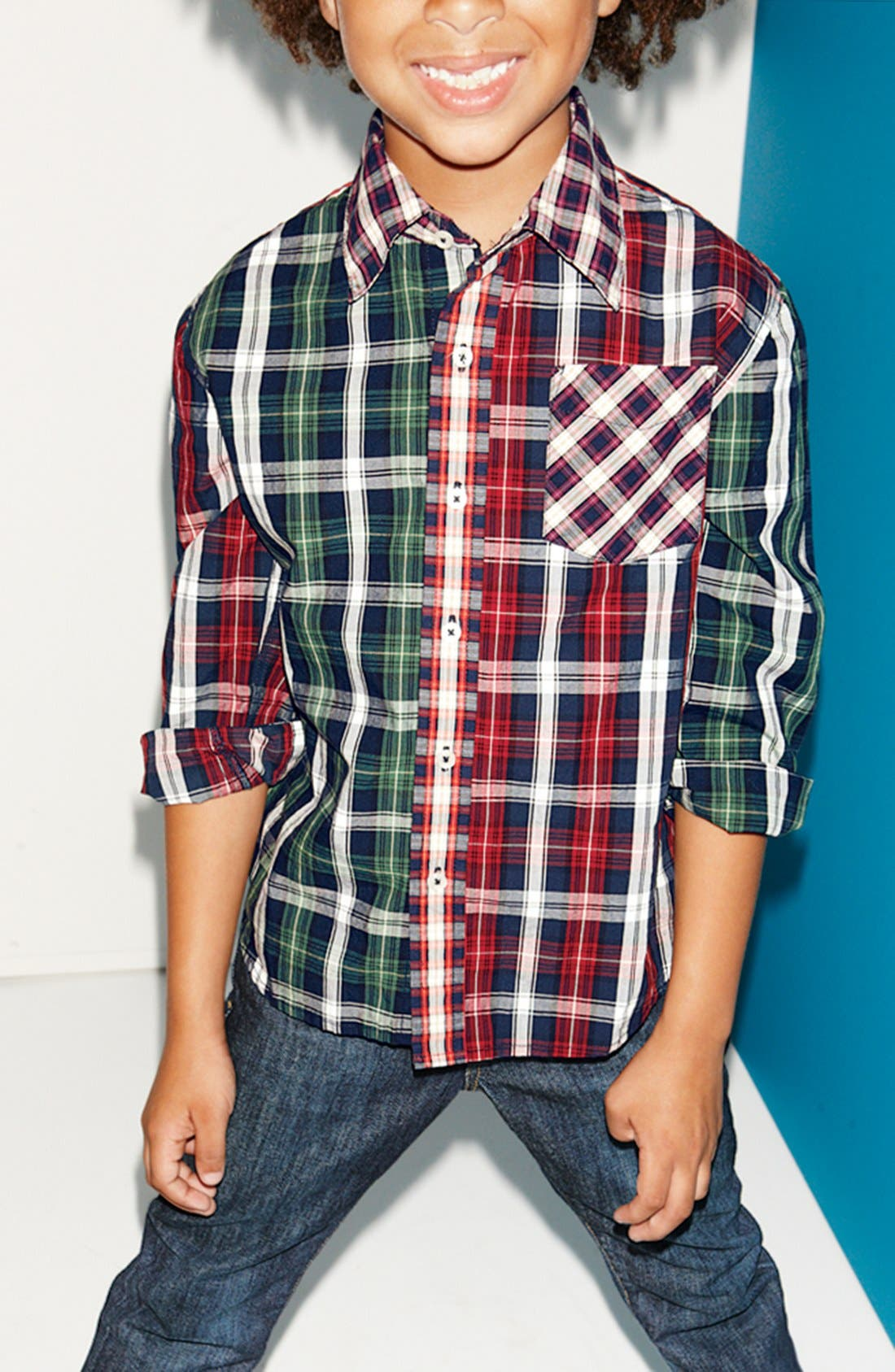 Alternate Image 1 Selected - Peek Woven Shirt & Jeans (Little Boys & Big Boys)