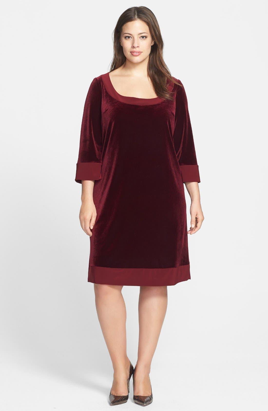 Main Image - ABS by Allen Schwartz Velvet Shift Dress (Plus Size)