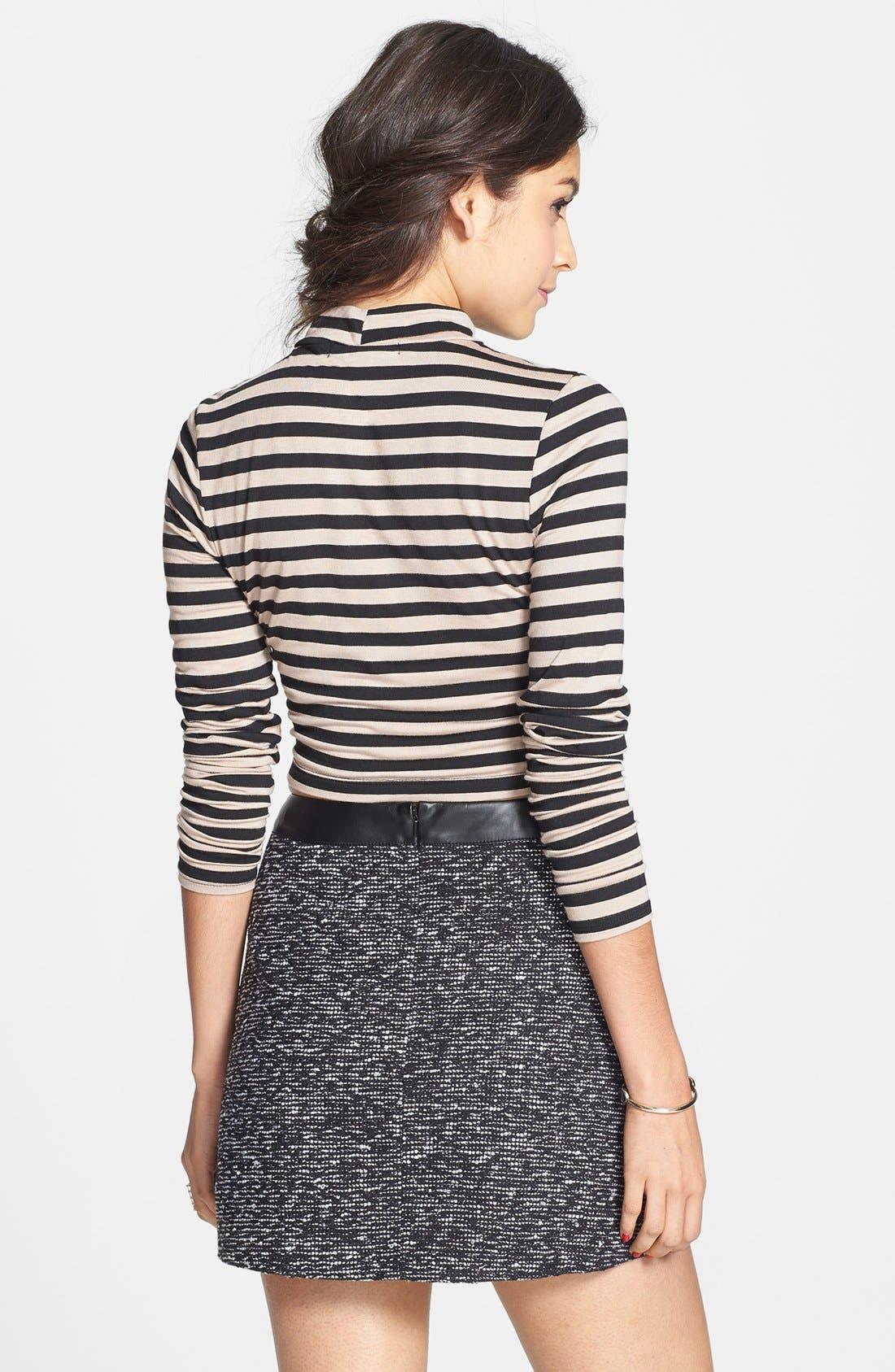Alternate Image 2  - Frenchi® Faux Leather Trim Miniskirt (Juniors)