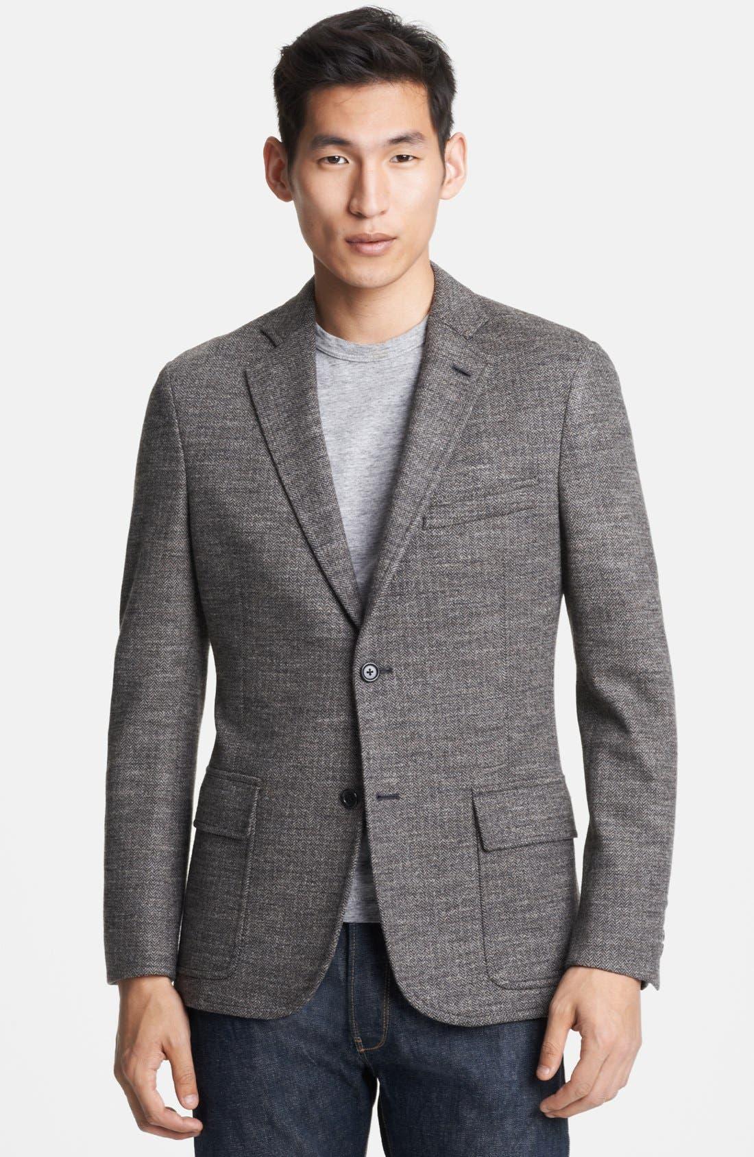 Main Image - Todd Snyder Grey Wool Herringbone Blazer