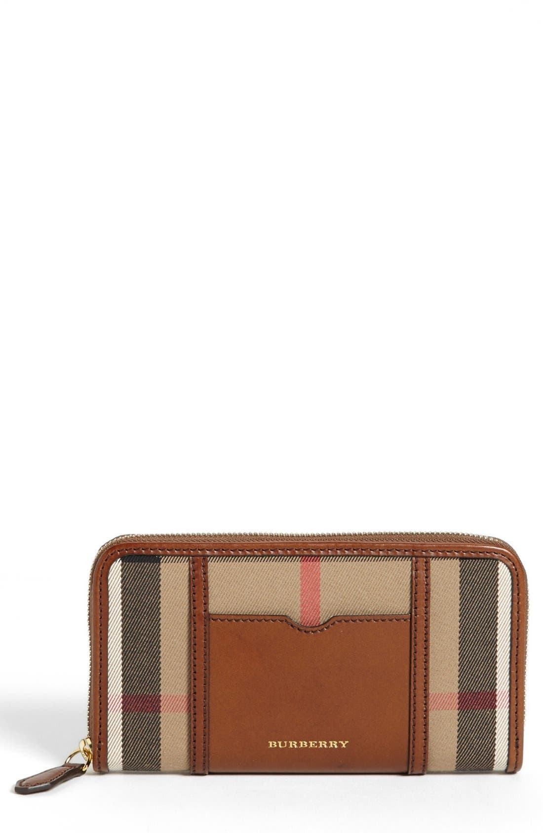 Main Image - Burberry 'House Check - Large' Zip Around Wallet