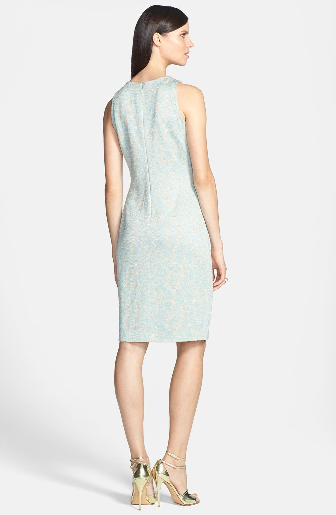 Alternate Image 2  - St. John Collection Metallic Floral Jacquard Knit Sheath Dress