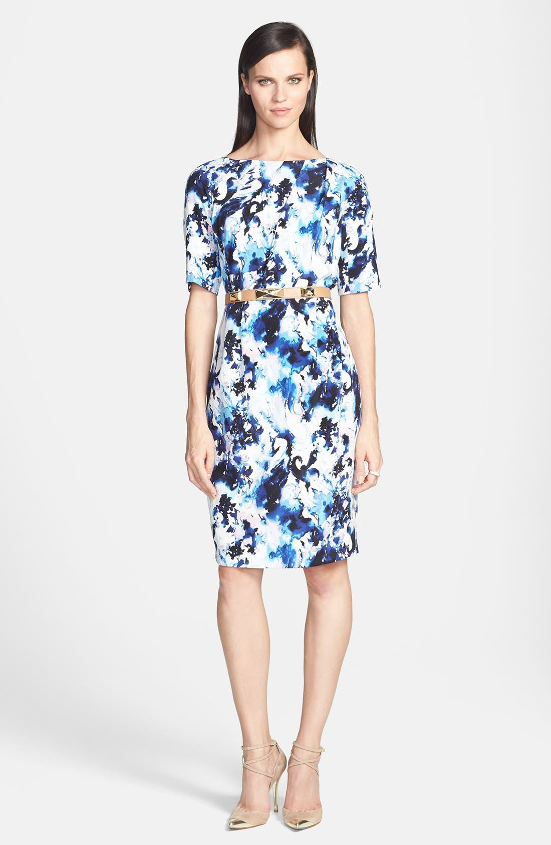 Alternate Image 1 Selected - St. John Collection Abstract Paisley Print Crepe Dress
