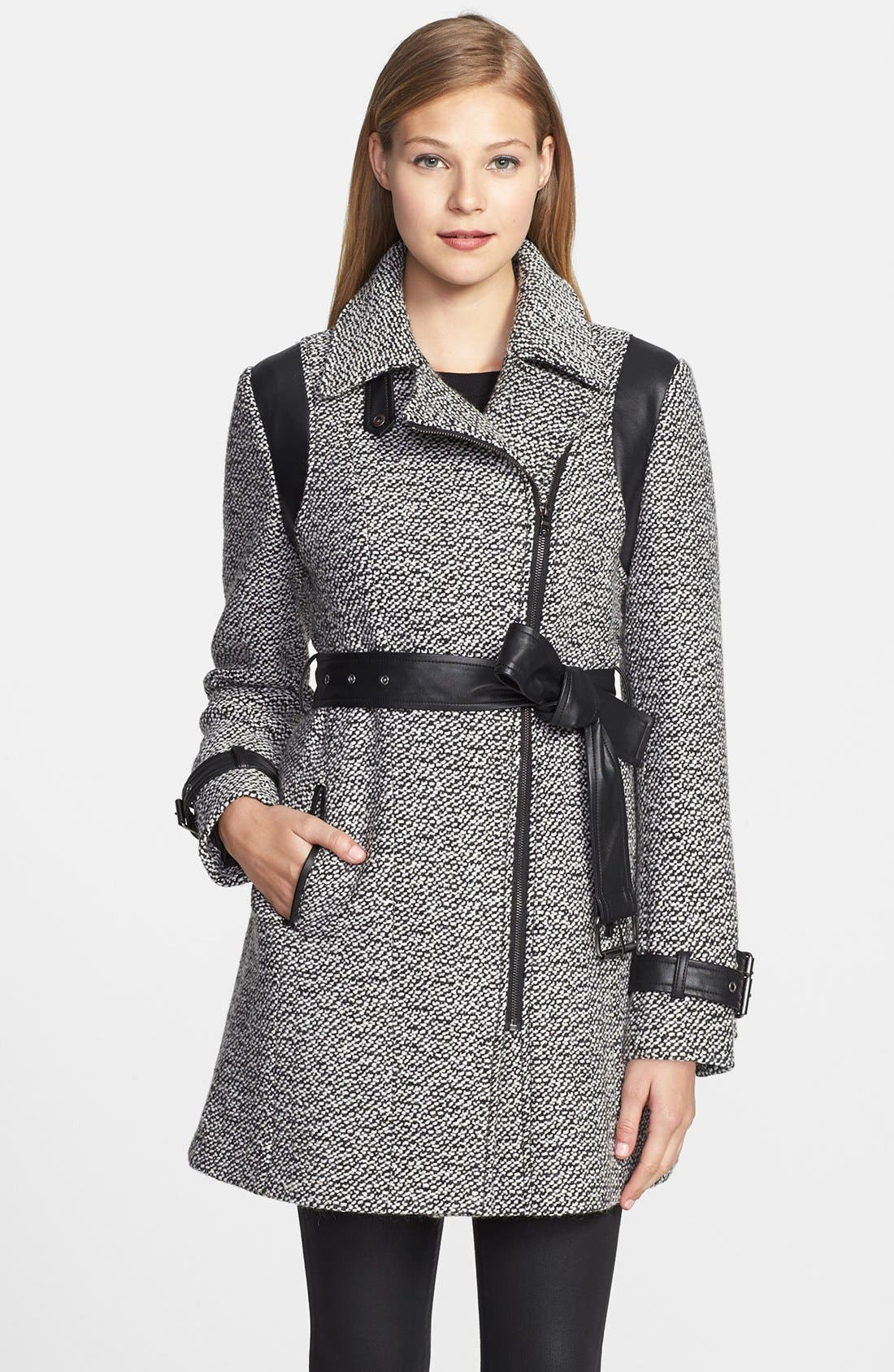 Main Image - Gallery Faux Leather Trim Belted Tweed Coat