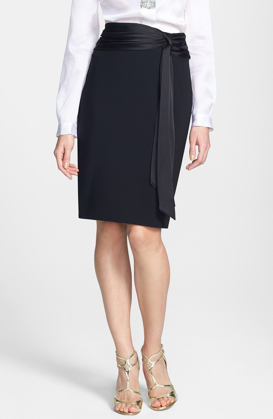 Main Image - St. John Collection Crepe Marocain Pencil Skirt with Liquid Satin Bow