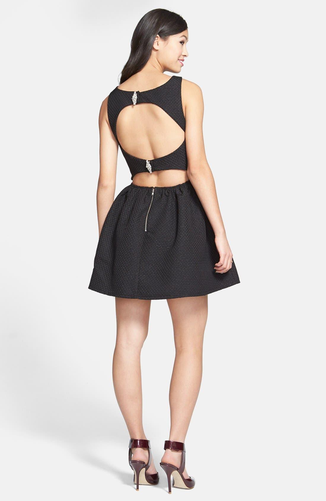 Alternate Image 2  - Trixxi Textured Open Back Skater Dress (Juniors) (Online Only)