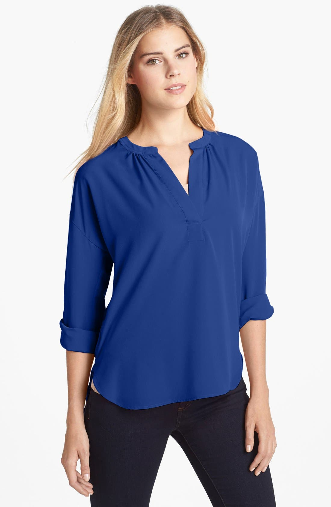 Main Image - Two by Vince Camuto Split Neck Long Sleeve Tunic