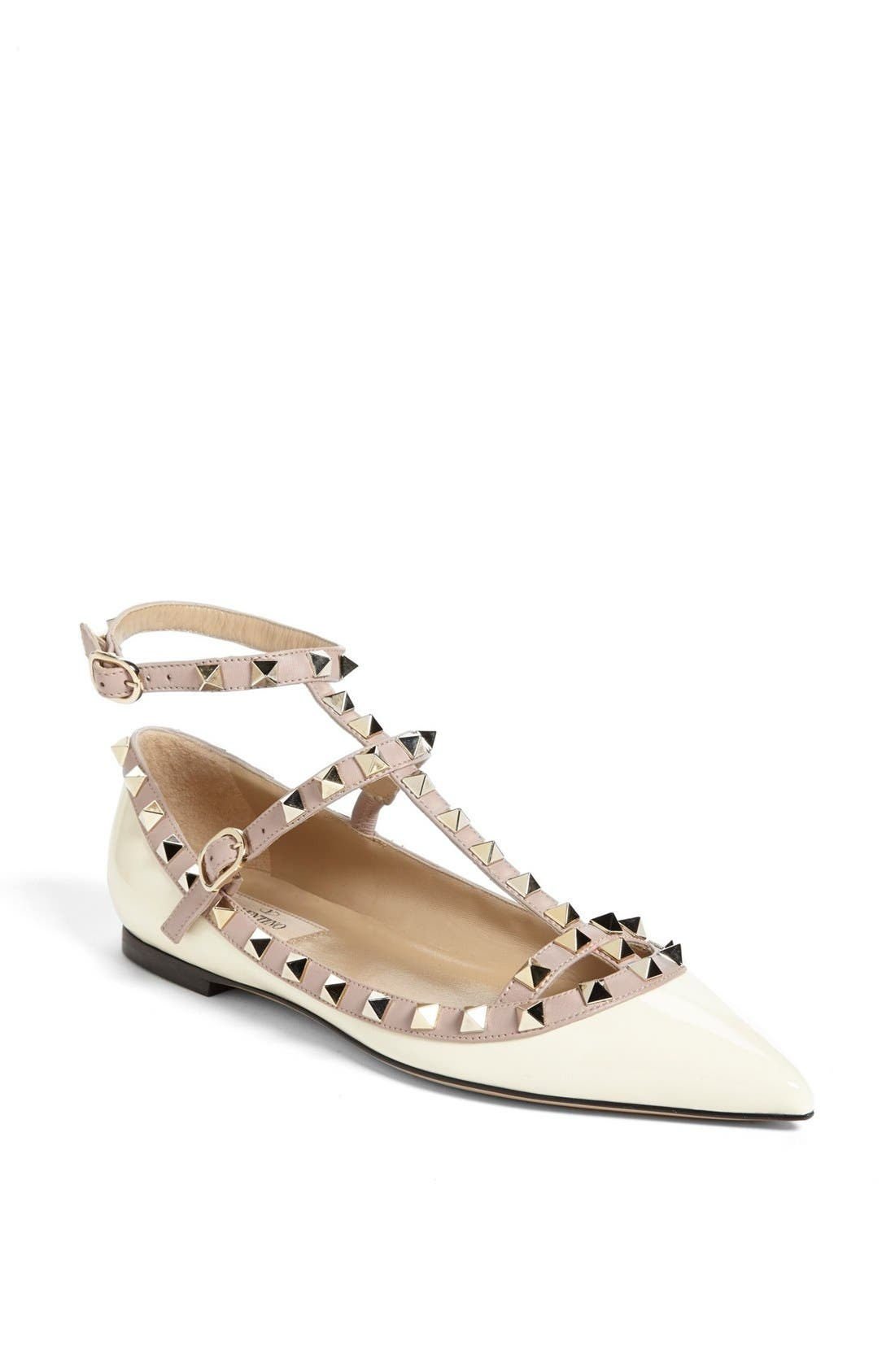 Main Image - Valentino 'Rockstud' Double Ankle Strap Ballet Flat