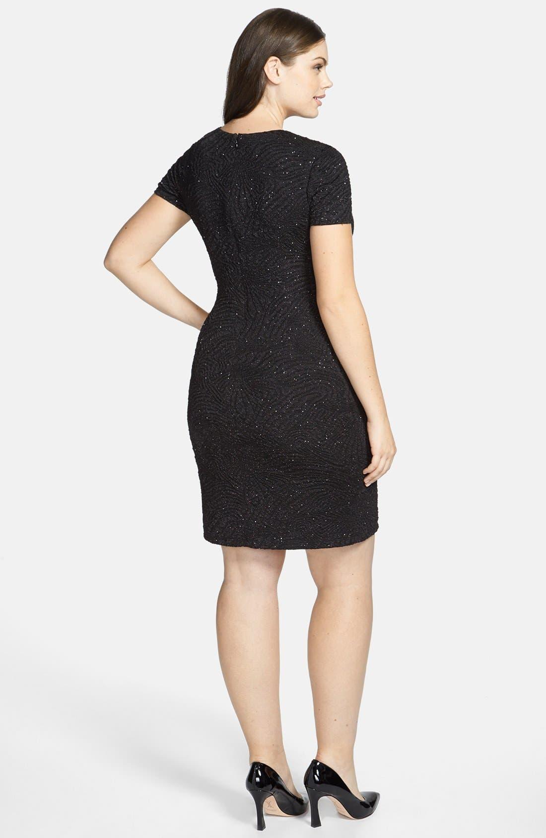 Alternate Image 2  - London Times Embellished Sparkle Plissé Sheath Dress (Plus Size)