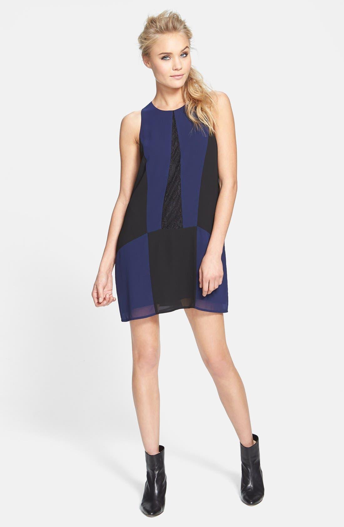 Alternate Image 1 Selected - ASTR Colorblock Lace & Chiffon Shift Dress