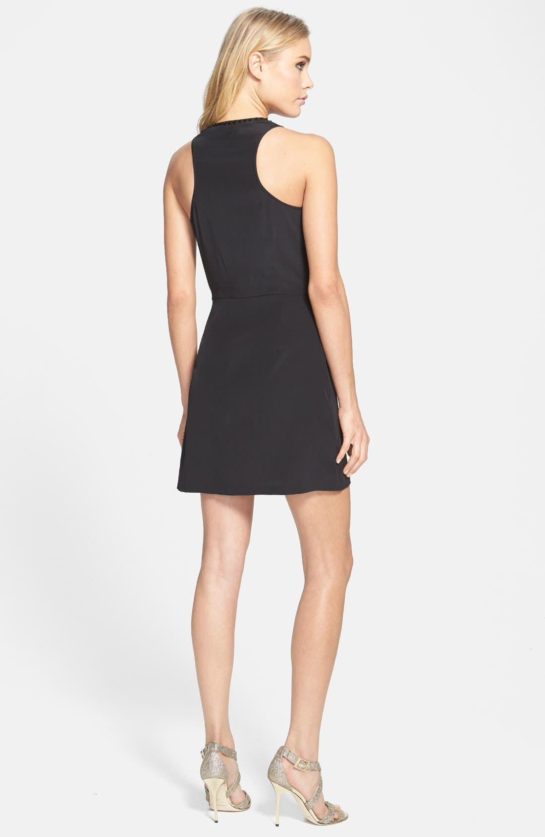 Alternate Image 2  - Madison Marcus Embellished Colorblock A-Line Silk Dress