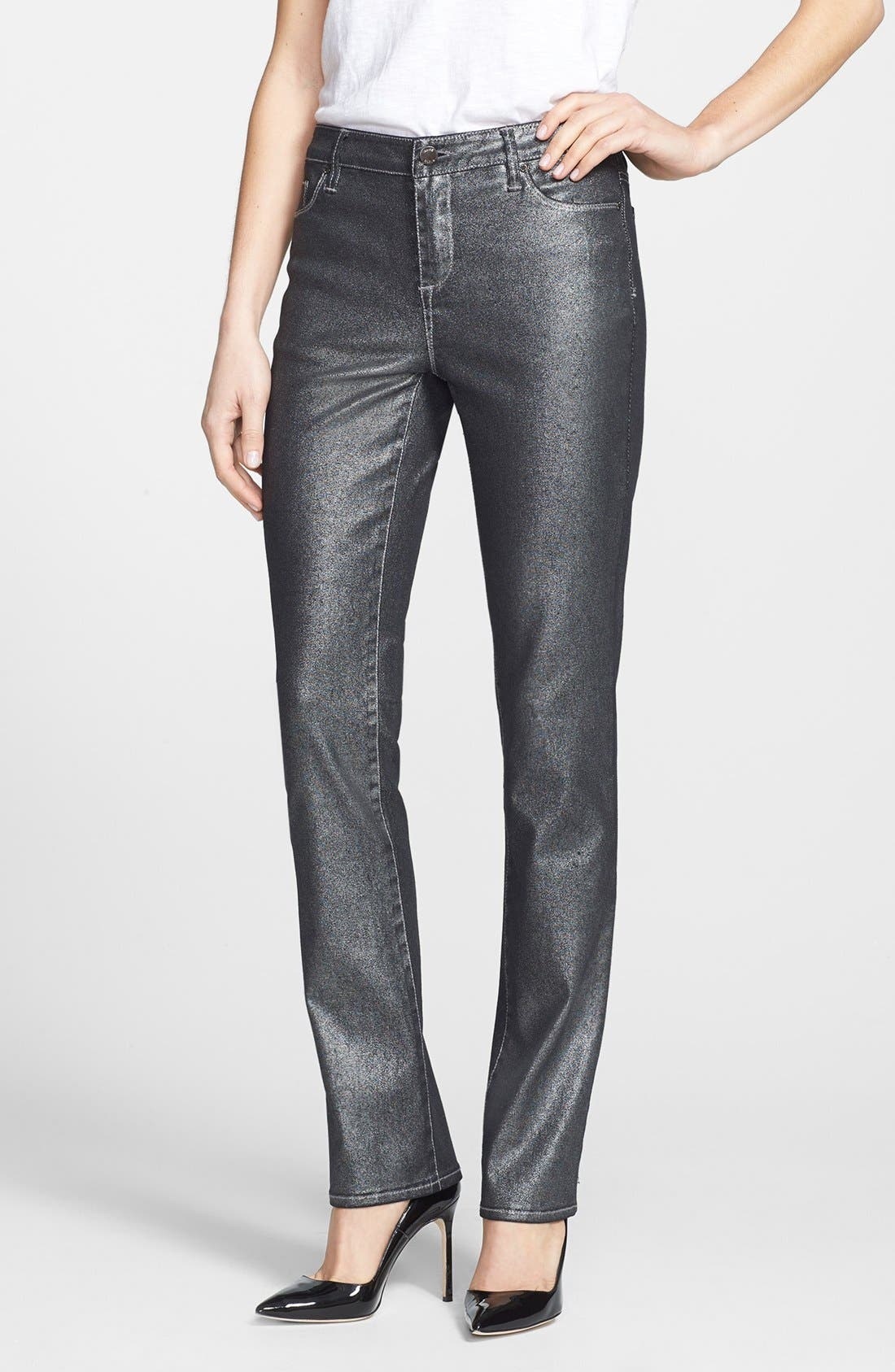Alternate Image 1 Selected - Anne Klein Metallic Straight Leg Jeans (Petite)