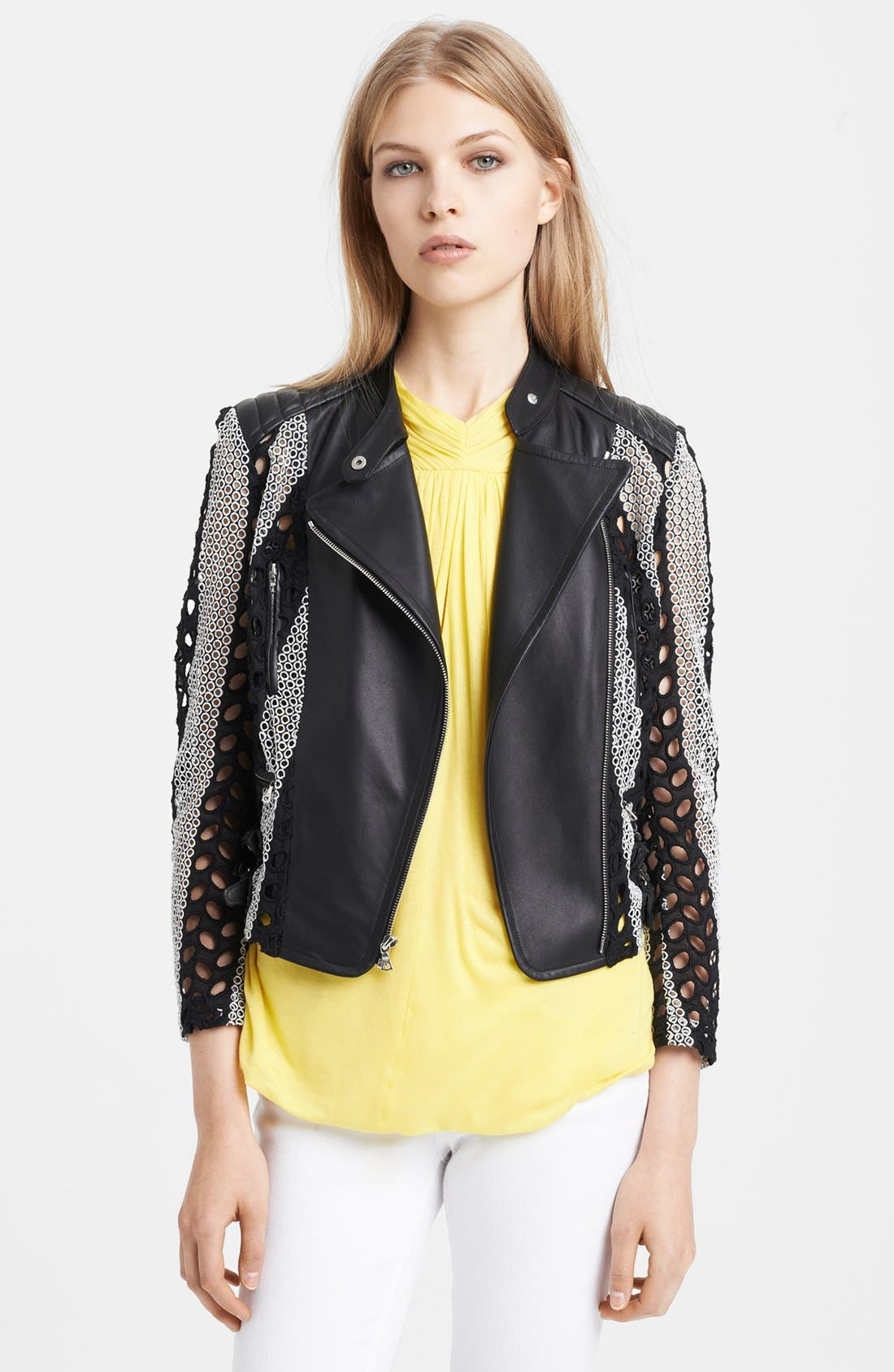 Alternate Image 1 Selected - Yigal Azrouël Cotton Eyelet & Leather Moto Jacket